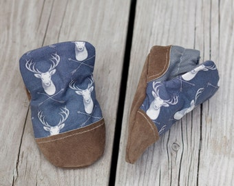 Stag Print Baby Shoe, Soft Sole Baby Shoe, Baby Booties, Non Slip, Handmade, Genuine Suede, Deer print,  Baby Moccasins