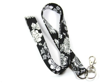 FLORAL Fabric Lanyard, Black and White Lanyard, Floral Fabric Badge Holder, Fabric Lanyard