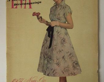 Vintage Hungarian Fashion Magazine with Pattern 1957 Summer Autumn