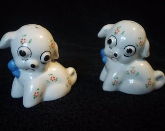 Vintage big-eyed puppies salt and pepper shakers