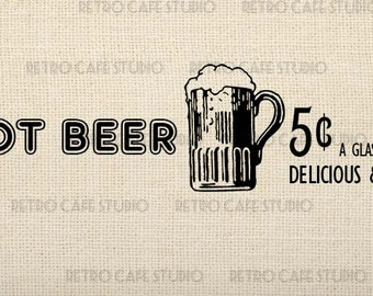 Digital Download Vintage Root Beer Advertising Illustration for Wood Signs Transfer Iron On Clip Art; 1045