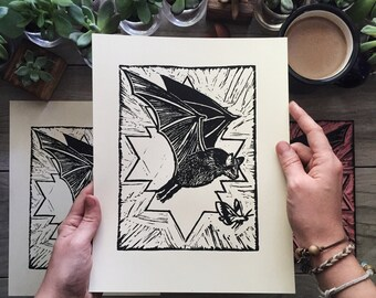 Little Brown Bat Blockprint