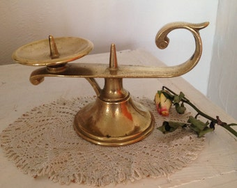 Vintage brass candlestick, French brass candleholder, antique candlestick,