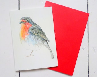 Robin cards, blank cards, Christmas cards, European robin, thinking of you, robin illustration, robin drawing