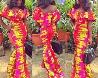 Off Shoulder Ankara Cape Dress