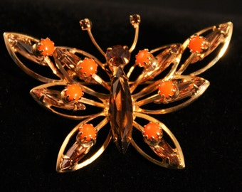 Vintage Goldtone Butterfly Brooch With Rhinestones - 040916DO48