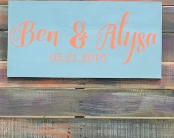 Custom made wooden wedding sign,  wedding date, anniversary gift, wedding gift, Bride and Groom name and dates, Wedding decor Reception sign