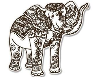 Elephant Henna Brown Car Vinyl Sticker - SELECT SIZE