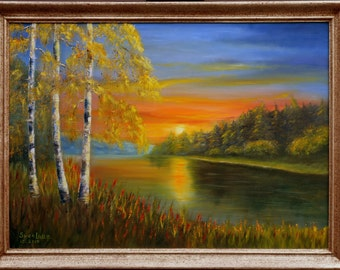 Sunset at the lake - Original oil painting