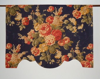 """26"""" - 27"""" Custom Valance Midnight Blue Navy Damask Cabbage Rose Shaped Scalloped, French Door or Narrow Window"""