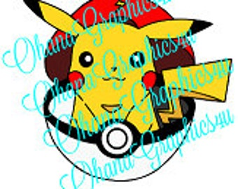 One of a kind, HAND DRAWN Pikachu in a Pokeball SVG