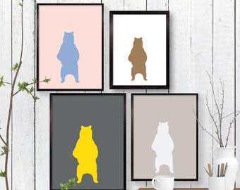 Standing Bear Print, Woodland Wildlife Wall Art, Animal, Room Decor, Minimalist, Poster, Child Baby Nursery A3 A2 11x14 12x18 16x20