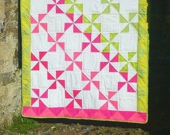 Handmade Modern Patchwork Quilt, Pink and Green Pinwheel Quilt, handmade patchwork throw in pink triangles and green triangles