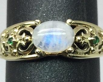 14k Rainbow Moonstone & Tsavorite Ring, FREE SIZING.