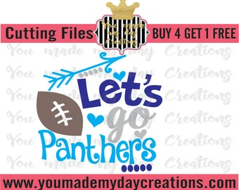 Buy 4 get 1 FREE***  Lets Go Panthers Football SVG, EPS, dxf, & png Cutting Files Stitches Sports Team Arrows dots