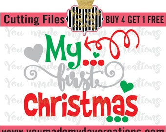 Buy 4 get 1 FREE*** My First Christmas SVG, EPS, dxf, & png Cutting Files Christmas Tree Arrow Hearts dots Holiday season