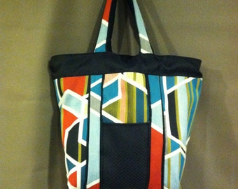 "Multicolored/Black Upholstery Fabric Shopping Tote Diaper Overnight Bag 16""x 12""x 8"" with 8 Pockets"
