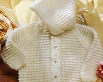 Knitting Pattern Hooded Baby cardigan Instant Download