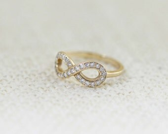14K Diamond Infinity Ring, Promise Ring, 14K Yellow Gold Ring, Infinity Ring, Friendship Ring