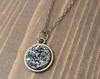 Gunmetal Faux Druzy Necklace Antique Brass