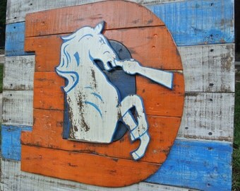 3D Old school broncos D logo, distressed, weathered, handmade, sports logo, Denver, 5280, wall art, reclaimed wood.