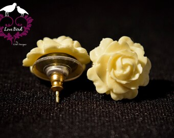 Ivory Rose Stud Earrings* Rose Earrings* Flower studs*small earrings* flower post earrings