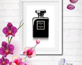 Coco Chanel perfume bottle, Digitale fashion illustration, DIY, gift idea, printable poster