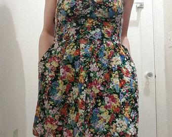 90s flower dress, vintage flower dress with pockets
