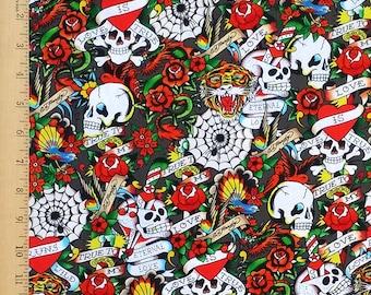Ed Hardy Fabric, 'Love is True' Fabric, Tiger, Skulls & Hearts Tattoo Fabric, Ed Hardy Eternal Love Fabric, 100% Cotton Fabric by the Yard