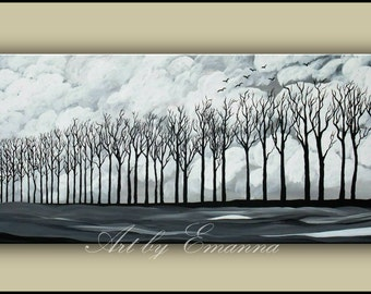 "Original Landscape Painting, Black and White Trees Painting, Acrylic painting, Modern Wall Art 20""x48"" Ready to Hang"