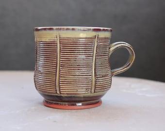 Rustic Pottery Mug- Handmade wheelthrown ceramic coffee cup with texture