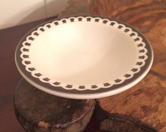Vintage Sterling China Vitrified Restaurant Ware Berry Bowl with Dark Gray Design   Made in East Liverpool, Ohio