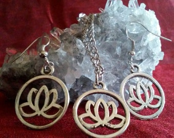 Lotus Necklace Earring set