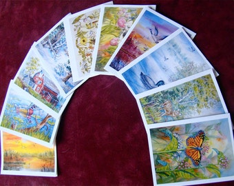 Assorted Watercolor Scenery Landscape Wildlife Notecards  (SET ONE)