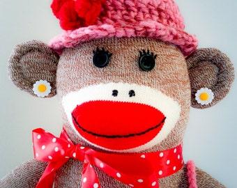Traditional Sock Monkey Doll with Crochet Accessories / Sock Monkey / Plush / Stuffed Animal