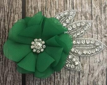 Green hair clip, wedding hair clip, floral hair clip, rhinestone hair clip, vintage hair clip, flower hair clip