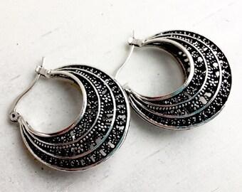 Vintage Hoop Earrings Boho Earrings Bohemian Hoops Bohemian Earrings Filigree Hoops Filigree Earrings Vintage Filigree Hoops Classic Hoops