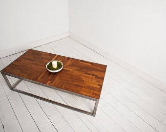Handmade Parquet Flooring Coffee Table with Industrial Metal Legs made with Reclaimed Upcycled Materials