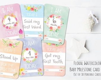 PRINTABLES- Baby Girl Floral Watercolor Milestone Card Set // Baby's First Year // 30 pack