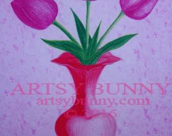 Purple Tulips in a Vase Drawing
