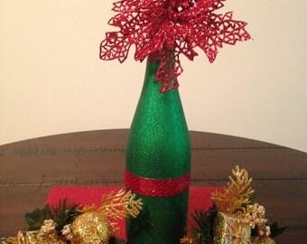 Wine Bottle Décor-Holiday Glitter Wine Bottle