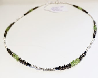 Silver peridot necklace pyrite and black spinel