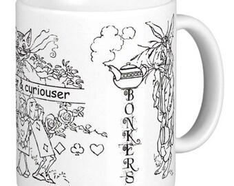 Alice in wonderland, Bonkers, Sketch Alice Mug, Alice Sketches Bonkers Mug, curiouser and curiouser, Alice Mug