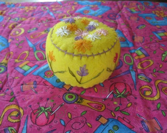 Yellow Embroidered Felt Pincushion