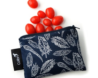 "Ready to ship - Reusable Snack Bag 4x6""with zipper - Feathers"