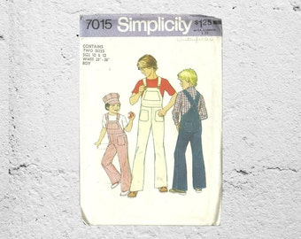 Boys Overalls • Simplicity 7015 • Children's Overalls • Farmer Costume Pattern • Vintage Wide Legged Pants Retro 70s • Kids Conductor Outfit