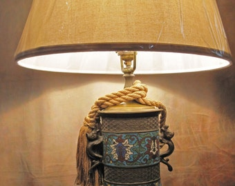 Antique Chinese Champleve Lamp #2