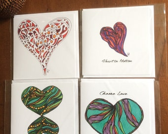 Love Collection - 4 blank greeting cards