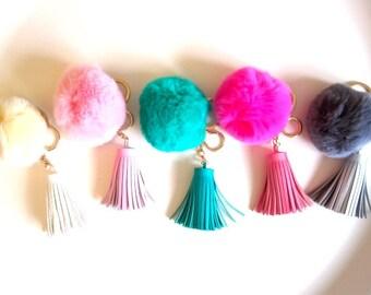 Furry pom pom with tassel, bag charm, key ring, girls accessories, birthday gift, car key accessory, pom pom tassel, MUM gift idea present