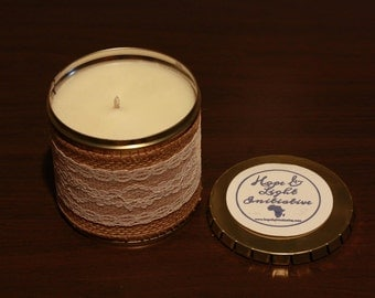 """12 oz """"Clean Cotton"""" Hand-Made Soy Candle in Tin/ Burns 60 hrs"""